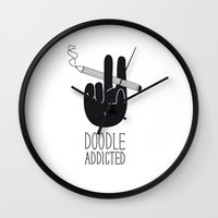 doodle Wall Clocks featuring doodle addicted by SpazioC