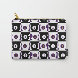 Violet and Gold Chessboard and Chess Pieces pattern Carry-All Pouch