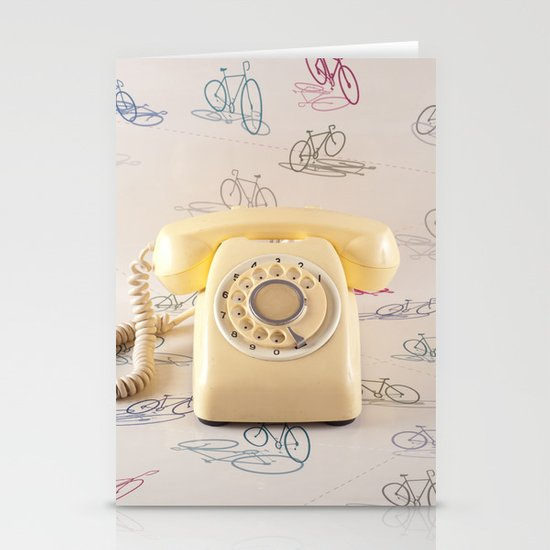 The yellow retro telephone  Stationery Cards