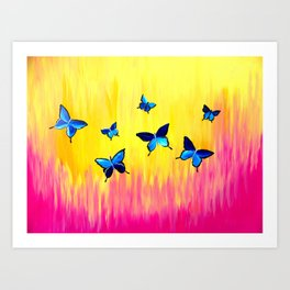 Butterflies and Vivid Sundrenched Colors Art Print