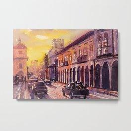 Watercolor painting of colonial buildings in UNESCO World Heritage city of Cuenca, Ecuador Metal Print