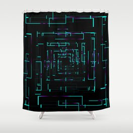 Banners with blue dark electronic cards. Shower Curtain