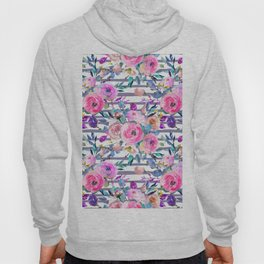 Pink mauve lilac hand painted watercolor roses floral stripes Hoody