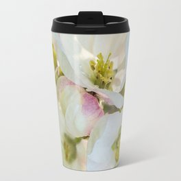 Close-up of Apple tree flowers on a vivid green background - Summer atmosphere Travel Mug