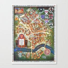 HARVARD University map MASSACHUSETTS Canvas Print
