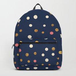 Hipster navy blue faux gold glitter modern polka dots Backpack