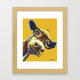 Yellow Glasses Cow, Cow up close glasses Framed Art Print