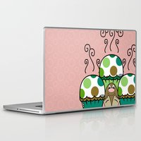 polkadot Laptop & iPad Skins featuring Cute Monster With Green And Brown Polkadot Cupcakes by Mydeas