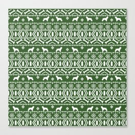 Cocker Spaniel fair isle christmas pattern dog breed holiday gifts green and white Canvas Print