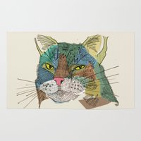 whisky Area & Throw Rugs featuring Whisky Cat by Faye Finney