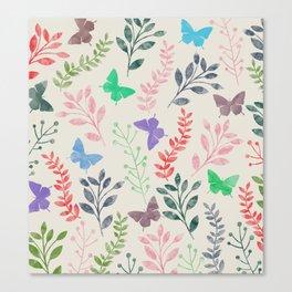 Watercolor flowers & butterflies Canvas Print