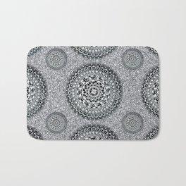 Silver Sparkle and Hand-Drawn Metallic Mandala Textile Bath Mat