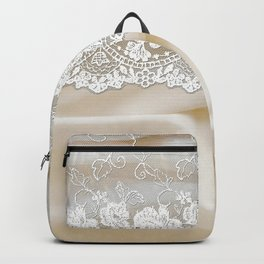 Bride lace - Luxury white floral elegant lace on cream silk fabric Backpack