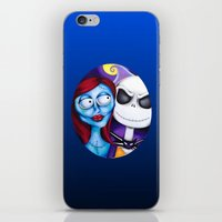 nightmare before christmas iPhone & iPod Skins featuring Nightmare Before Christmas by Janelle Jex