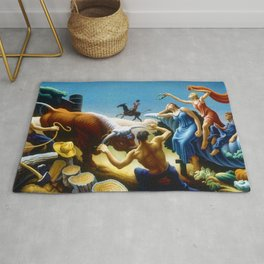 Classical Masterpiece 'Achelous and Hercules' by Thomas Hart Benton Rug