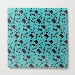 Hipster Elements Pattern on blue Metal Print