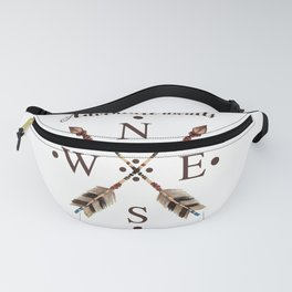Cardinal directions Compass Arrows Adventure awaits Typography Fanny Pack