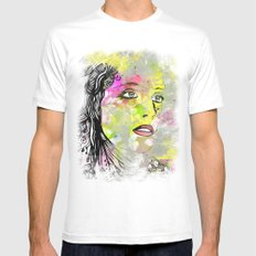 Floral Girl 3 MEDIUM White Mens Fitted Tee