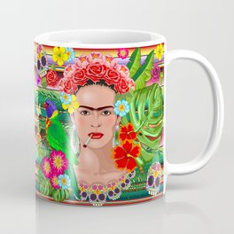 Frida Kahlo Floral Exotic Portrait Coffee Mug
