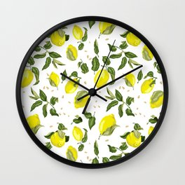 Citrus lemon with seeds and leaves pattern Wall Clock