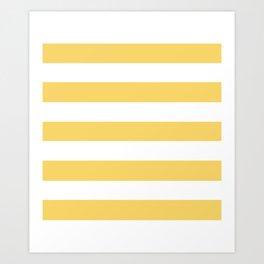 Orange-yellow (Crayola) - solid color - white stripes pattern Art Print