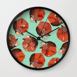 curled fox polka mint Wall Clock