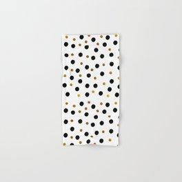 Black & Gold Glitter Confetti on white background- Elegant pattern Hand & Bath Towel