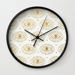 Evil Eyes Gold Wall Clock