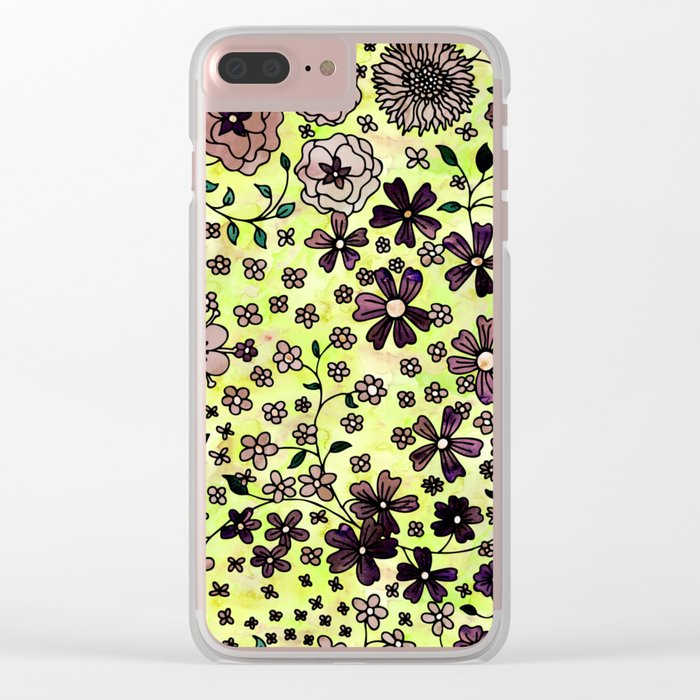 Brown Small Flowers Clear iPhone Case