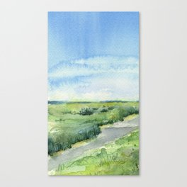 Sky and Grass Landscape Watercolor Canvas Print