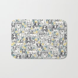 Dogs and Daisies on Grey Bath Mat