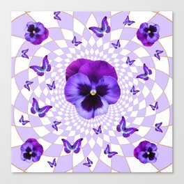 PURPLE BUTTERFLIES & PANSIES GEOMETRIC WHITE PATTERN Canvas Print