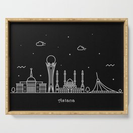 Astana Minimal Nightscape / Skyline Drawing Serving Tray