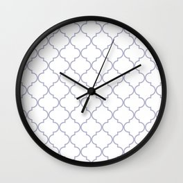 Quatrefoil - white and silver Wall Clock