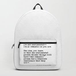 The romantic person - F Scott Fitzgerald Backpack