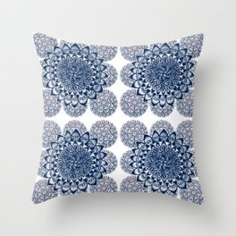 Navy and White Floral Mandalas Throw Pillow