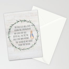 Moms Love w/Weathered wood background Stationery Cards
