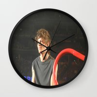 louis tomlinson Wall Clocks featuring Louis Tomlinson by Halle