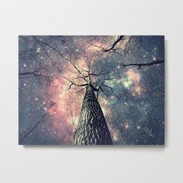 Wintry Trees Galaxy Skies Metal Print