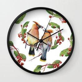 Cedar Waxwing Love Wall Clock