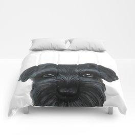 Black Schnauzer, Dog illustration original painting print Comforters