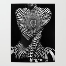 0622-JAL Heart Shape Pattern on Breasts and Nude Body Abstracted by Optical Patten Poster