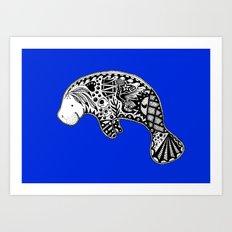 Blue Manatee Art Print