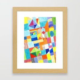 Playful Colorful Architectural Pattern Framed Art Print