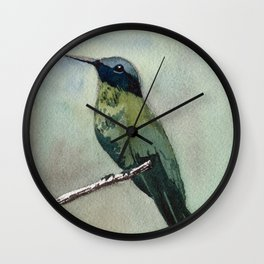 Hummingbird Sitting on a Branch Wall Clock