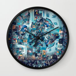 Shibuya Crossing, Repeating Mosaic Pattern 49 Wall Clock