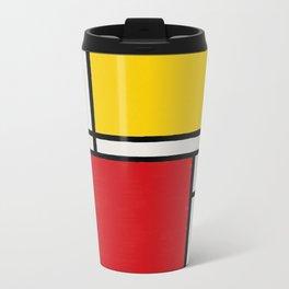 Abstract Mondrian Style Art Metal Travel Mug