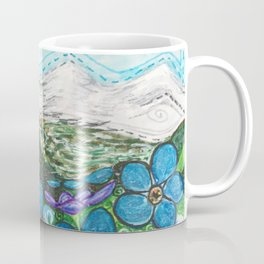 Mountains and Forget-Me-Nots Coffee Mug