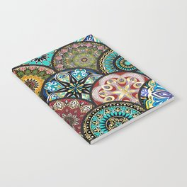 Colorful floral seamless pattern from circles with mandala in patchwork boho chic style Notebook