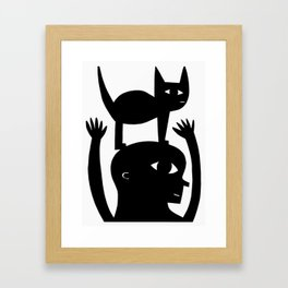 Cat On My Head Framed Art Print